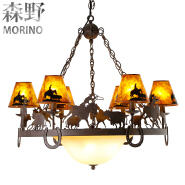 lodge decorative wrought iron chandeliers with cowboy cottage style E12 lamp holder