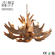 American Country Style Vintage Polyresin Deer Antler Chandeliers Lights Made in China