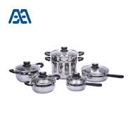 Customized durable handle stainless steel cookware set