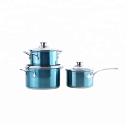 Factory supply blue stainless steel casserole set
