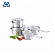 Low price stainless steel pot and pan cookware set