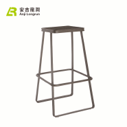 Industrial style stainless steel frame iron metal wooden seat bar stool