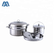 Modern design stainless steel cookware set with steamer