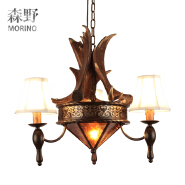 E27 lampholder faux antler 3-lights pendant light with fabric shade