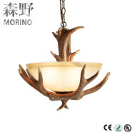Wholesale d deer antler Chandelierglass ball pendant lampvintage led pendant light