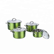 Hot sell green coating stainless steel cookware set