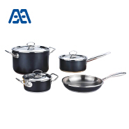 Eco-friendly black stainless steel cooking pot set