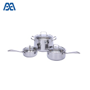 Belly shape casserole stainless steel cookware set