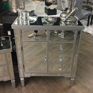 Silver Trim Mirrored Chest of 5 Drawers 1 Door Cabinet