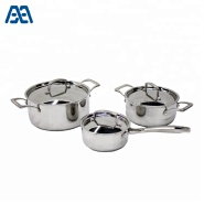 Eco-friendly stainless steel double sided handle pan restaurant soup pot cookware set