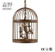 Zhongshan company interior decoration chandeilier vintage birdcage pendant lights Rectangle pole bas
