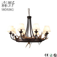 Art Deco Old Rustic Iron Ring Pendant Lights Wrought Iron Antler Big Size Chandelier