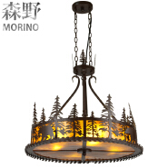 rustic Lodge and cabin lighting Rustic Pendant with bear and pine tree