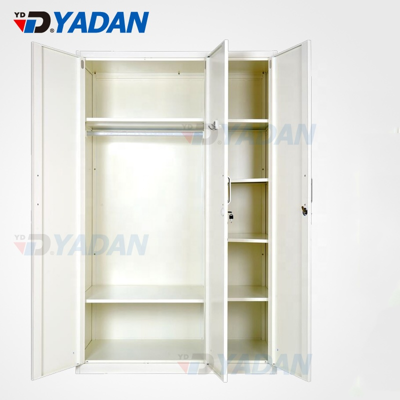 Family furniture steel simple bedroomwith adjustable shelf design cheap folding cupboard wardrobe