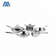 New Arrival 6 Pcs Cooking Pot And Pan 5-Ply Stainless Steel Cookware Set