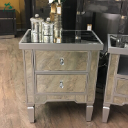 Silver Mirrored Chest of 2 Drawer Bedside Cabinet Table