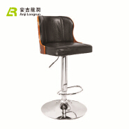 Promotional Black PU Leather home wooden bar chair