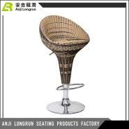 Modern Adjustable high back Rattan Wicker Pub Swivel Bar chair with metal base