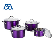 Purple stainless steel cookware set with glass lid