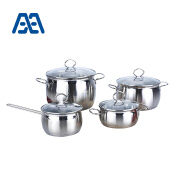 Kitchen stainless steel belly shape cookware set