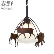 Cafe decoration with American country style table lamp Creative living room chandelier