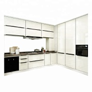 High teachnical classical PVC surface kitchen cabinet almari modern kitchen cabinet