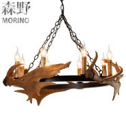 New design E14 lamp holder energy saving 8 lights chandelier antique antler pendant light