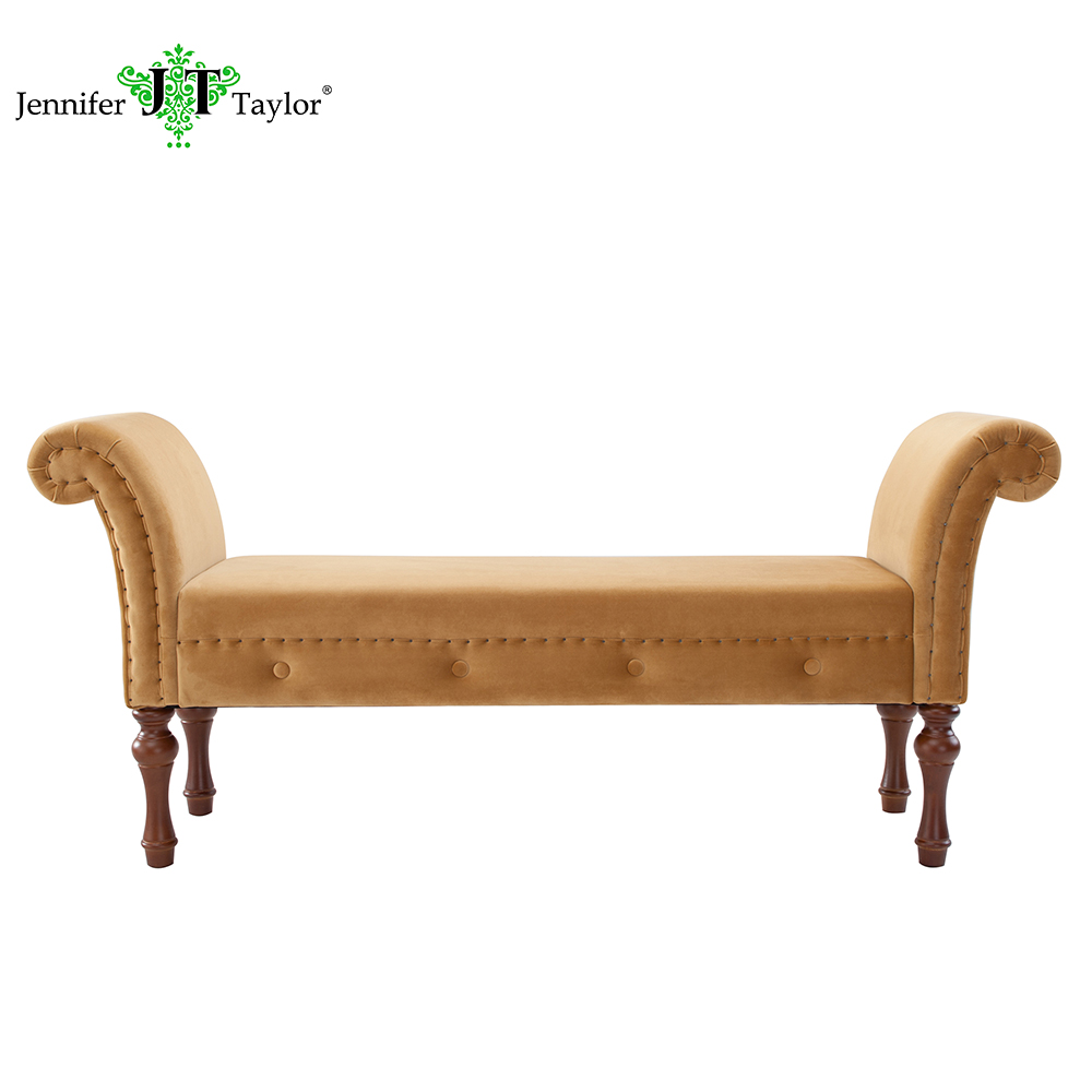 Buckthorn brown elise arm bench built by experienced furniture craftsmen and women