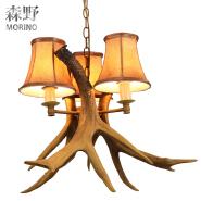 vintage countryside deer horn resin chandeliers Villa Retro Antler Project Lighting Chandeliers