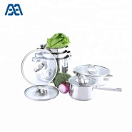 High level stainless steel cooking pot set with glass cover