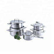 Eco-friendly ss cookware set with tempered glass lid