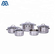 Kitchen stainless steel cookware set with wire handle