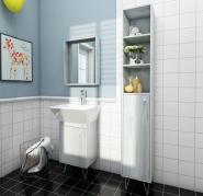 2018 new design melamine bathroom furniture/modern bathroom cabinet 1 door+3 shelves with aluminum f