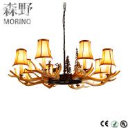 Wrought iron lighting wooden resin deer antler chandelier