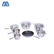 2018 Stainless steel cookware set with glass lid