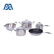 Stainless steel cookware gourmet cook pot and pan set