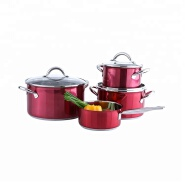 Multipurpose red cooking pot stainless steel cookware set