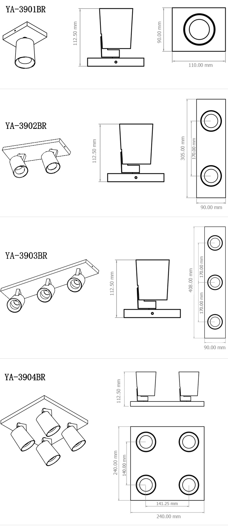 Adjustable 5w surface mounted gu10 led spotlight