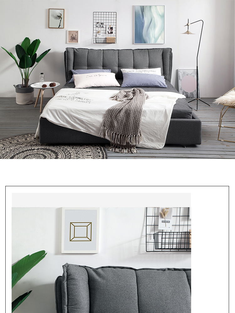 Home Bedroom Modern Style Furniture set Design Sleeping Queen Size Upholstered fabric sex Bed