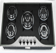 5 burner tempered glass panel auto ignition gas stove