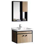 chinese cheap price modern plywood and aluminum side bathroom vanity cabinets with mirror