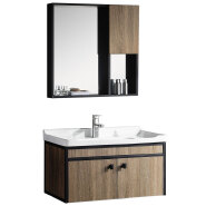 chinese lowes hotel modern plywood and aluminum side bathroom vanity cabinets with mirror