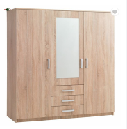 High quality MDF/Particle board Two door with mirror storage wardrobe cabinet