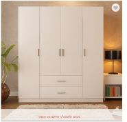 Modern four door and two drawer bedroom wardrobe designs