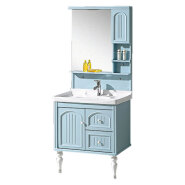 chinese factory direct selling new arrival cheap hotel modern pvc bathroom vanity cabinet with mirror