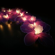 Hot Handmade Purple Orchid Design String Lights For Home Decoration Lighting, Holiday, Party, Weddin