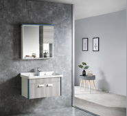 Wall Mounted PVC Bathroom Cabinet Wholesale Price Chaozhou Bathroom Mirror Cabinet New Modern Bathroom Furniture 6513-80