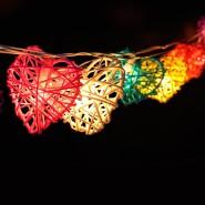 3.4 - 4 meters Handmade Multicolor Heart Design Rattan Balls String Lights For Decorative Holiday