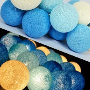 20Bulb/Set Handmade Blue Cotton Balls String Lights For Home Decoration Lighting, Holiday, Party
