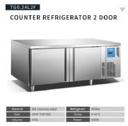 Commercial Kitchen Stainless Steel 2 Door under counter refrigerator freezer